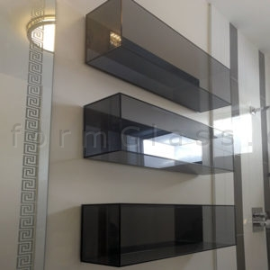 Grey Glass Box Style Shelves