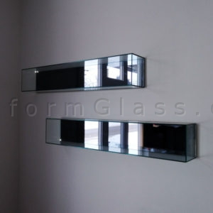 Wall Mounted Glass Cabinet with Mirror Back