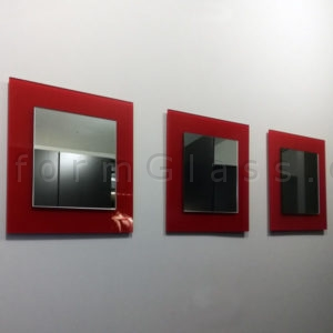Accent Mirrors Clear Mirror on Red Painted Glass