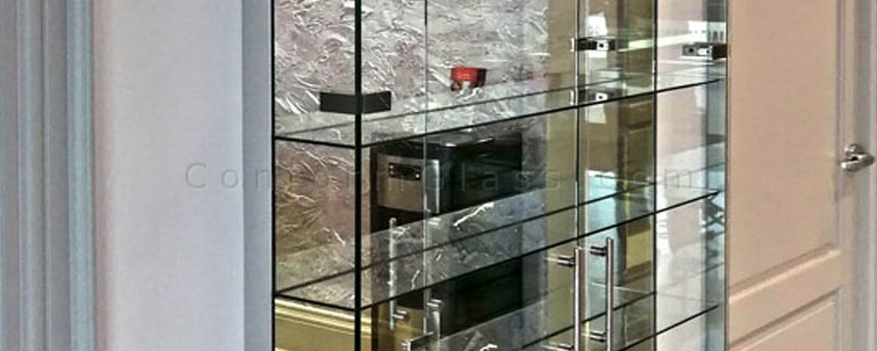 custom glass wall cabinet