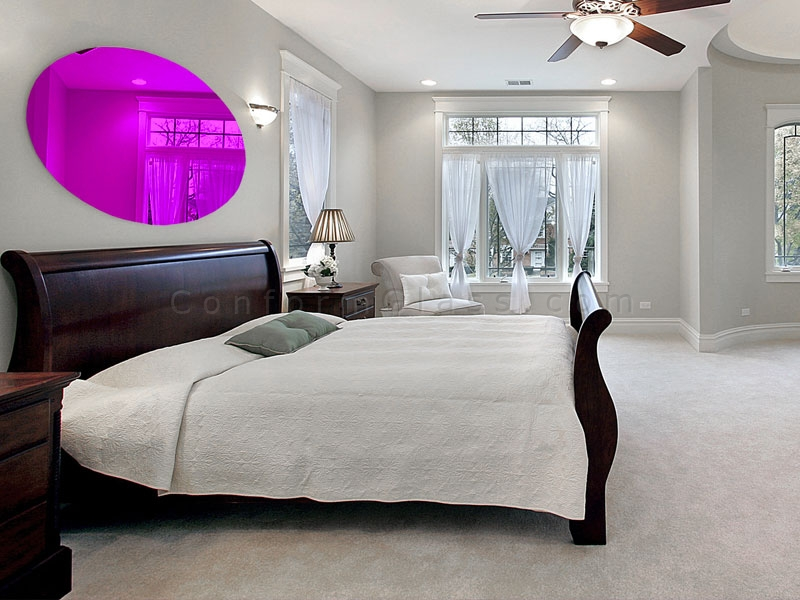 Oval Purple Mirror in the bedroom