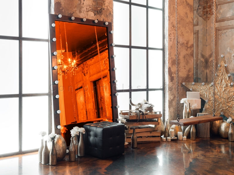 Orange Mirror in Marquee Frame